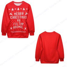 Sweatshirt Men Hoodies Merry Christmas Ya Filthy Animal Letter Training Sweaters Autumn Winter Red Oversize Tracksuits Men Coats