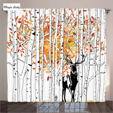 Insulated Curtains Living Room Bedroom Deer Forest Autumn Trees Golden Orange Green White Wilderness 2 Panels Set 145*265 sm