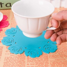 New Flower Hollow Out Silicone Cup Mat Placemat Table Mat Pad Cup Bowl Holder Coaster Insulation