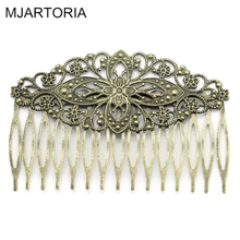 "MJARTORIA 10PCs Hair Clips Comb Shape Hollow Bronze Tone Hair Ornaments For Bows DIY Hair Accessories 8.1cmx5.5cm(3 2/8""x2 1/8"")"