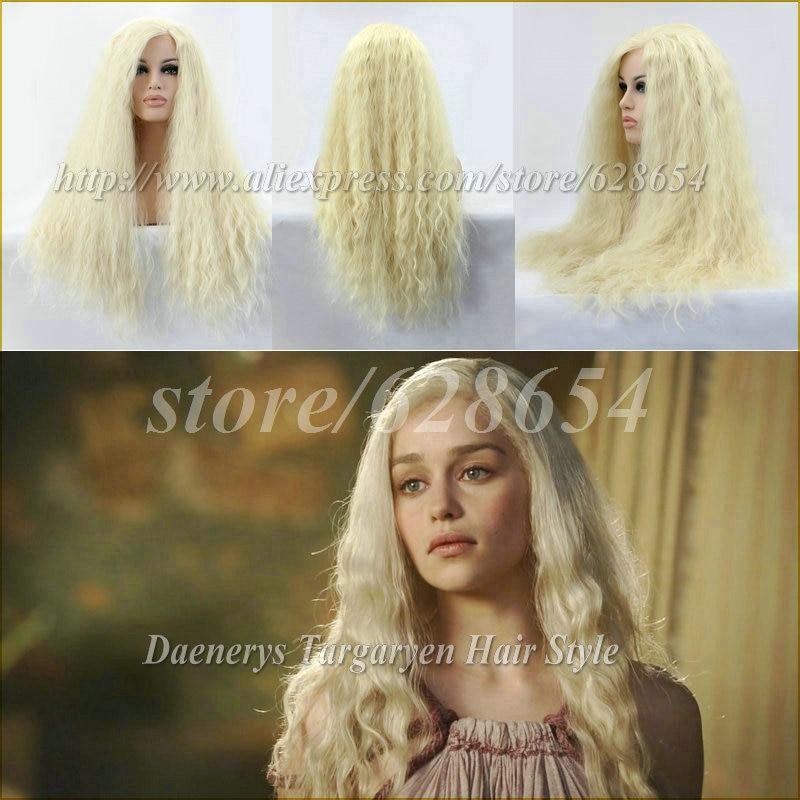 Flexible Blonde Daenerys Targaryen Cosplay Lace Wig Natural Fiber Blonde Lace Front Wigs Heat Resistant Side Parting 180%Density<br><br>Aliexpress