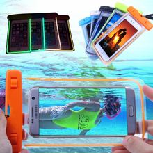 100% Sealed Transparent Waterproof Luminous Pouch Case For iPhone 4S 5 5S 6 6S 7 Plus Samsung Galaxy S6 S7 edge LG G5 Cover Bag(China)