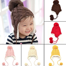 Baby Toddler Kid Unisex Winter Warm Furry Ball Cable Knit Beanie Hat Cap Earflap