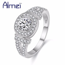 Almei 15% Off Wedding Rings for Women Silver Color Ring Micro Pave CZ Stone Anel Bague Jewellry Halloween Aneis Gifts Y133