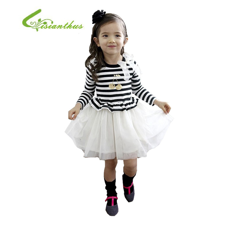2017 New Spring Autumn Long Sleeve Strip Cotton Voile Dress Clothing Kids Dress Girl Dresses Princess  Party Girl With Appliques<br><br>Aliexpress