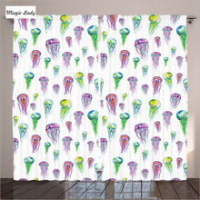 LivingRoom Bedroom Curtains Decor Collection Jellyfish Watercolor Painting White Purple Curtains Gre Curtains LivingRoom Bedroo