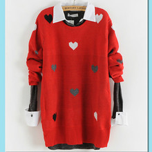 Women Heart Print Sweater Pullover Lady Casual Street Wear Knitted Tops Loose Maternity Sweater For Spring Autumn Winter 3030