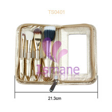 ISMINE Brand hot Wholesale 4 pcs golden cosmetic tools gold makeup brush set with mirrow Christmas gift portable brushes