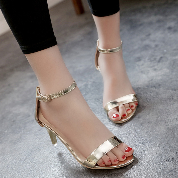 2016 summer fashion silver and gold ankle strap lady shoes women open Toe high Heel Pumps girl sexy thin  heel  party shoes<br><br>Aliexpress