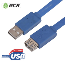 GCR USB Extender Cable Extension Flat USB 2.0 Extension Adapter For Flash HDD Printer Mouse Keyboard USB Cable Extension Cord