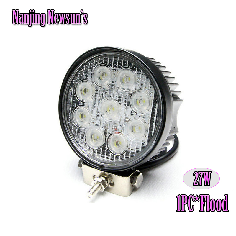 1PC Black Housing 27W Round Led Work Light Bar 4.3Inch 27W Waterproof Working Lights Flood Beam Offroad Boat Car Tractor 4X4<br><br>Aliexpress