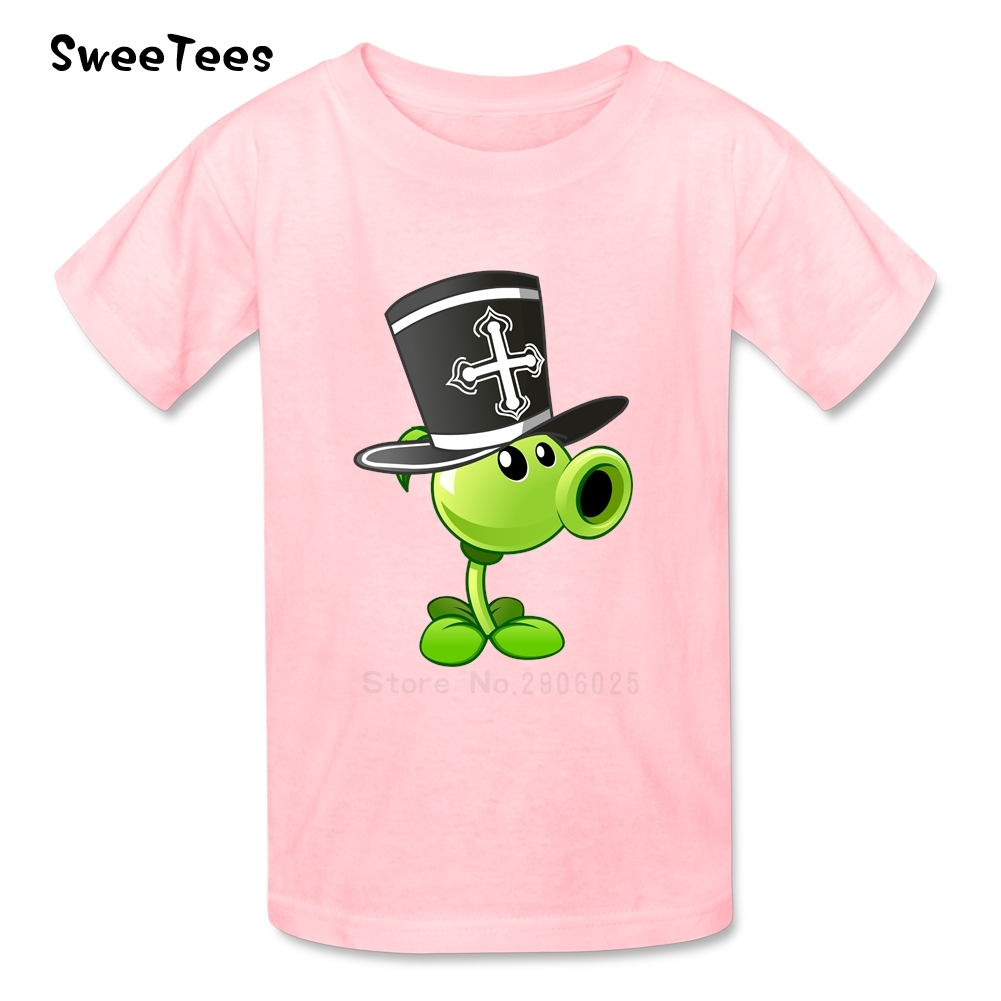 Plants Vs Zombies Boys Girls T Shirt Cotton Short Sleeve Crew Neck Tshirt children's Costume 2017 Best Selling T-shirt For Kids(China (Mainland))