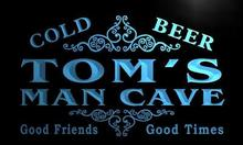 x0154-tm Tom's Man Cave Beer Ale Bar Custom Personalized Name Neon Sign Wholesale Dropshipping On/Off Switch 7 Colors DHL