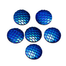 10PCs Blue Resin Cabochon Fish Scale Supplies For DIY Jewelry Making Hand Made Flat Cameo Embellishment  Cabochon 18mm