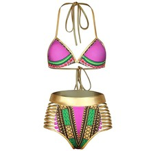 YSMARKET High Waist High Waist African Swimsuit For Women Swimwear Tribal Metallic Cutout Ladies Swim Suit Bikini 2017 C410260