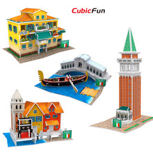 Cubic Fun 3D Puzzle Italy Feature World Style DIY House Models, Italy Architectural Puzzle Toys For Collection Birthday Gifts