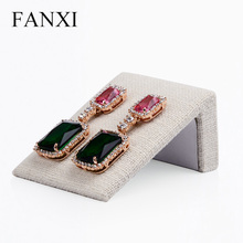 FANXI 5PCS/LOT creamy white color linen L shape jewelry display stand earring/ear stud display stand for counter showcase