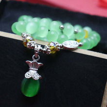 8mm Classic Green cats eye beads opal Natural stone Chalcedony women girls Bracelet hand chain Pendant Crystal Tibet Silver(China)