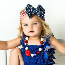 2015 latest  Parenting style knotted Turban Twist hair band bow flower girl 4th of July headband Head Wrap Knot HeadWrap