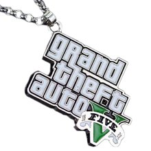Classic Game GTA Necklace Grand Theft Auto Pendant Necklace For Men Fans V Logo Necklace Statement Pendant Chain