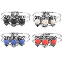 FUNIQUE Fashion Retro  Imitation Thailand Silver Owl Charm Bracelets Bangle For Women Female Girls Vinatge Jewelry 1PC
