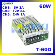 60W Power Supply Driver with 3 switching output 5V 3A, 12V 2A, 24V 1A ac to dc T-60D triple power supply