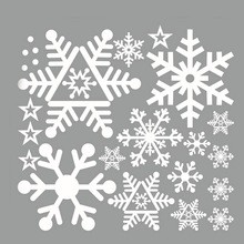 Hot Christmas Decor White Snowflakes Sticker Windows Glass Cabinet Wall Stickers New Year Home Decoration