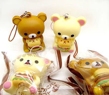 6cm soft scented Cake kawaii Rilakkuma squishy queeze Slow Rising Kid toys Gift cell phone pendant bread bear with original pack