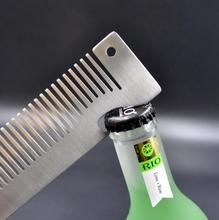 Engraved Your Logo Anti Static Stainless Steel Comb Multi-function Beauty Comb, Can Be Use As A Bottle Opener.  FH-10243