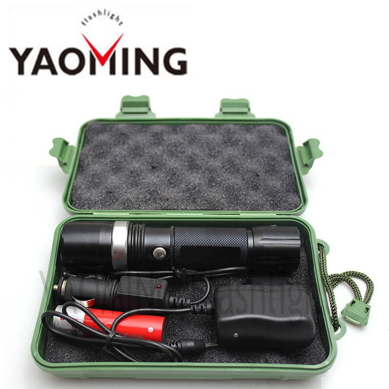 Gift box CREE XM-L Q5 zoomable led flashlight rechargeable led torch tactical lamp lantern police flashlight with18650 &amp; charger<br><br>Aliexpress
