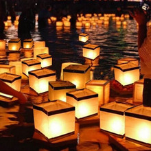 1 Pcs Floating Water Square Festival Lantern Paper Lanterns Wishing lights floating Candle For Party Birthday wedding Decoration