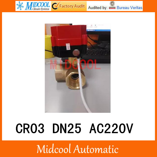 CWX-60P brass motorized ball valve 1 DN25 micro electric valve AC220V electrical controlling (three-way) valve wires CR-03<br><br>Aliexpress