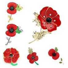 Charming Fashion Jewelry Accessories Royal British Style Brooch Crystal Poppy Flower Brooch Pin BRH-0008