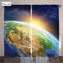 Polyester Curtains Living Room Bedroom Celestial Planet Earth Sunrise Beyond Pacific Art Ocean Black 2 Panels Set 145*265 sm