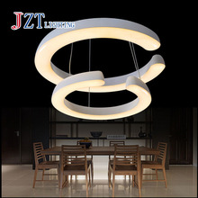 T Best price Modern Creative Two Circular Ring Pendant Lights Simple Acrylic Fashion Light For Bar Restaurant Coffee Shop