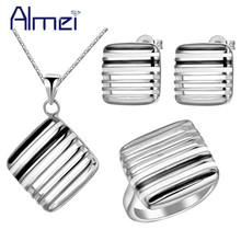 Almei African Cheap Costume Promotion 2016 Rose Gold/Silver Color Jewelry Sets Enamel Girl Silver Necklace for Women Girl T192