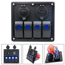 1PC Universal Auto ATV Marine Boat 4 Gang Circuit Blue LED Rocker Panel Switch Waterproof Switches Controls