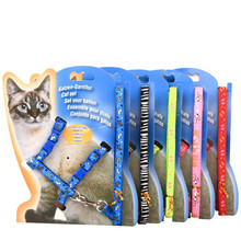 Hot 1 Set On Sale New polyester Pet Cat Dog Doggie Puppy patterned Leash Leads Harness Belt Traction Rope PG37