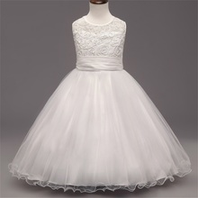 New Style Elegant White Princess Dress for Birthday Party Wedding Holiday Dress for the Girl Children Dress Age between 4-10Y
