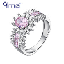 Silver Ring Pink Zircon Anel Women Wedding Set Rings Big Simulated Gemstone Jewelry Vintage CZ Diamond Anillos Mujer Bijoux J558