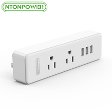 NTONPOWER Fireproof USB Wall Socket Mounted USB Charger US Plug 2 AC Outlet with 3 USB Charging Port for Travel/ Hotel/ Home