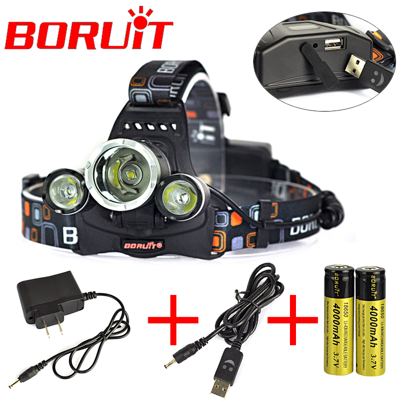 8000 Lm Boruit  3L2 Rechargeable Headlamp Outdoor Headlight linterna frontal For Hunting 18650 battery /Charger + USB Cable<br><br>Aliexpress