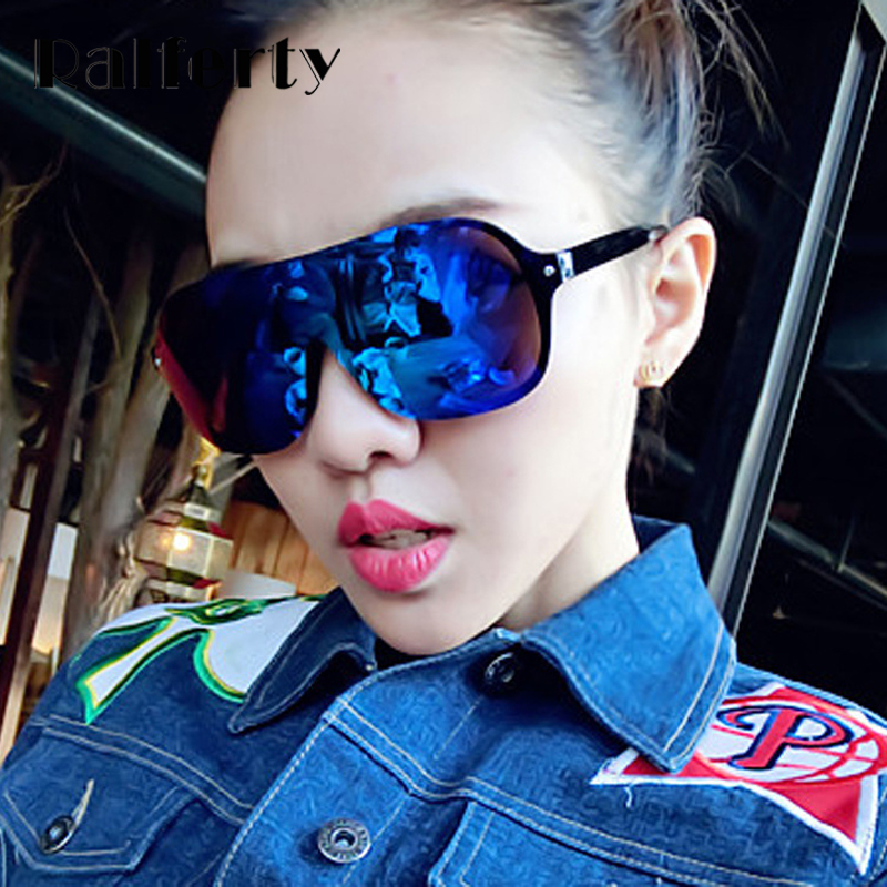 Ralferty Oversized Sunglasses Women Men Fashion Female Sun Glasses Goggles Big Mirror Shades Integrated Eyewear Oculos 8923<br><br>Aliexpress