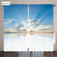 Blue Curtains Living Room Bedroom Bright Inspiring Air Clouds Reflections Meteoric Atmosphere White 2 Panels Set 145*265 sm