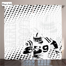 White Curtains Living Room Bedroom American Football Running Gridiron Goal Dotted Graphic Art Black 2 Panels Set 145*265 sm