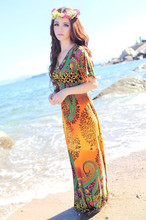 Fashion 2017 Summer Bohemian Print Butterfly Sleeve Beach Plus Size V-Neck Maxi Dresses For Women(Fits for size S M L XL XXL)