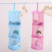 Useful 3 Shelf Hanging Storage Net Kids Toy Organizer Bag Bedroom Wall Door Closet 2016