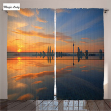Insulated Curtains Living Room Bedroom Magical Sunrise Pool Reflected Sky Morning Silent Orange Blue 2 Panels Set 145*265 sm