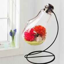 Iron Stand glass vases bulb desktop decoration bulb vases home decoration Wedding Crafts iron stand flower pots planters bulb