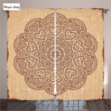 Custom Curtains Decor Ethnic Heart Tulip Motifs Antique Floral Oriental Chocolate Beige Living Room Curtains Custom Decor Ethni
